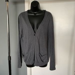like new Gap grey/black button up cardigan (6/$14)